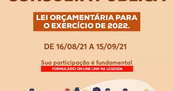 Consulta Pública – Lei orçamentária para o exercício de 2022. Sua participação é fundamental para o desenvolvimento do nosso Município